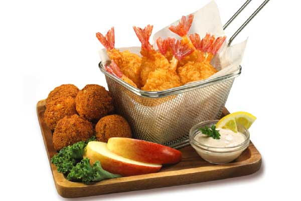 Panko Breaded Butterfly Shrimp with Hush Puppies and Cajun Dipping Sauce